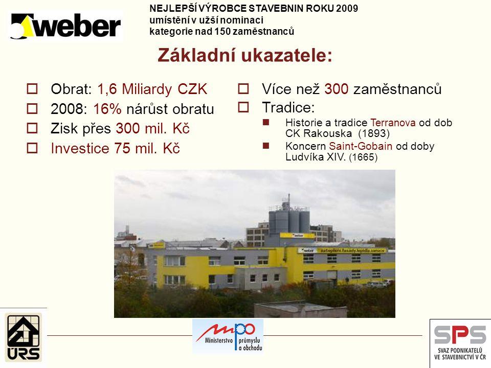 Základní ukazatele:  Obrat: 1,6 Miliardy CZK  2008: 16% nárůst obratu  Zisk přes 300 mil. Kč  Investice 75 mil. Kč  Více než 300 zaměstnanců  Tr
