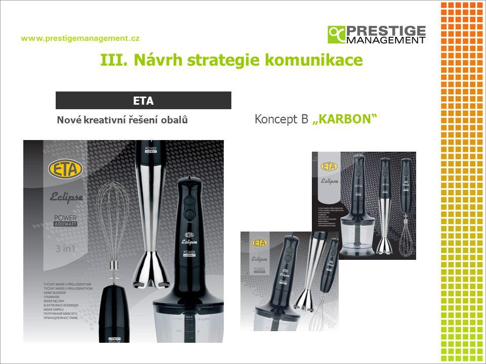 """III. Návrh strategie komunikace Nové kreativní řešení obalů Koncept B """"KARBON ETA"""