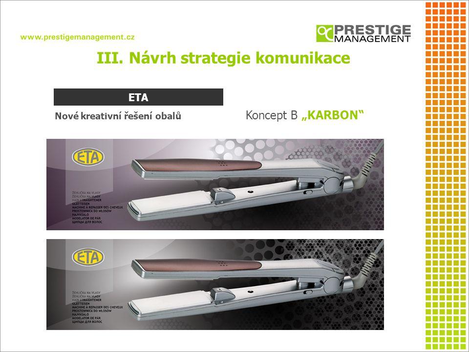 """III. Návrh strategie komunikace Nové kreativní řešení obalů Koncept B """"KARBON"""" ETA"""