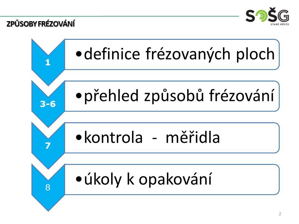 1 definice frézovaných ploch 3-6 přehled způsobů frézování 7 kontrola - měřidla 8 úkoly k opakování 2