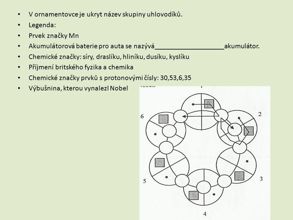 V ornamentovce je ukryt název skupiny uhlovodíků.