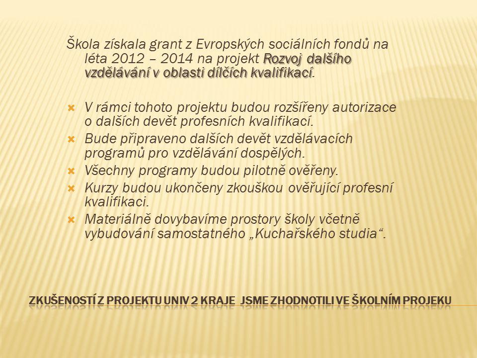 Rozvoj dalšího vzdělávání v oblasti dílčích kvalifikací Škola získala grant z Evropských sociálních fondů na léta 2012 – 2014 na projekt Rozvoj dalšíh