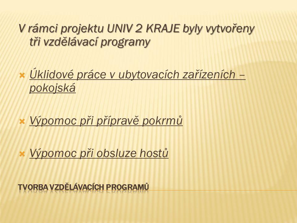 V rámci projektu UNIV 2 KRAJE byly vytvořeny tři vzdělávací programy  Úklidové práce v ubytovacích zařízeních – pokojská  Výpomoc při přípravě pokrm