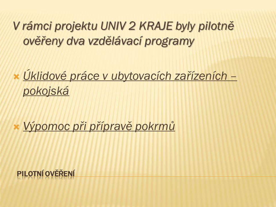 V rámci projektu UNIV 2 KRAJE byly pilotně ověřeny dva vzdělávací programy  Úklidové práce v ubytovacích zařízeních – pokojská  Výpomoc při přípravě