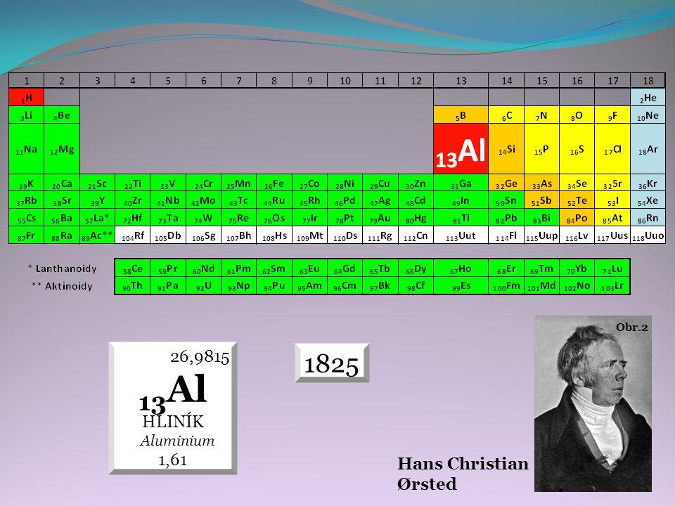 1825 26,9815 13 Al HLINÍK Aluminium 1,61 Hans Christian Ørsted Obr.2