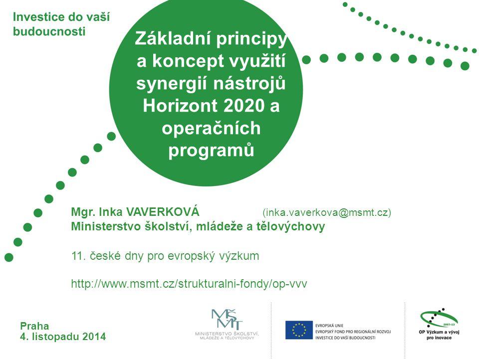 Základní principy a koncept využití synergií nástrojů Horizont 2020 a operačních programů Praha 4. listopadu 2014 11. české dny pro evropský výzkum Mg