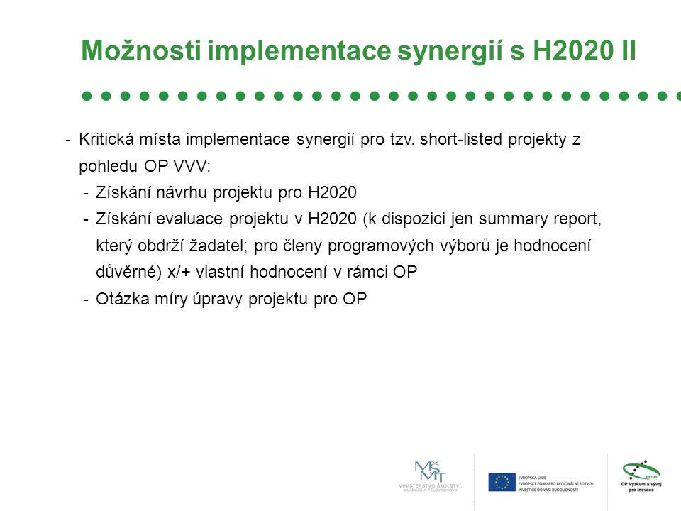 Možnosti implementace synergií s H2020 II -Kritická místa implementace synergií pro tzv. short-listed projekty z pohledu OP VVV: -Získání návrhu proje