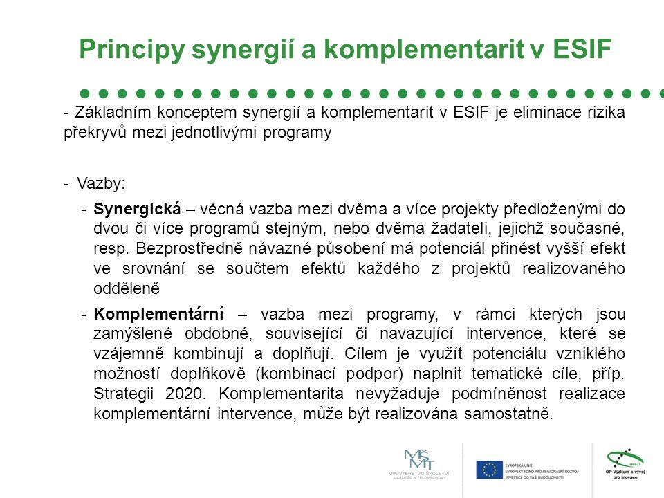Principy synergií a komplementarit v ESIF - Základním konceptem synergií a komplementarit v ESIF je eliminace rizika překryvů mezi jednotlivými programy -Vazby: -Synergická – věcná vazba mezi dvěma a více projekty předloženými do dvou či více programů stejným, nebo dvěma žadateli, jejichž současné, resp.