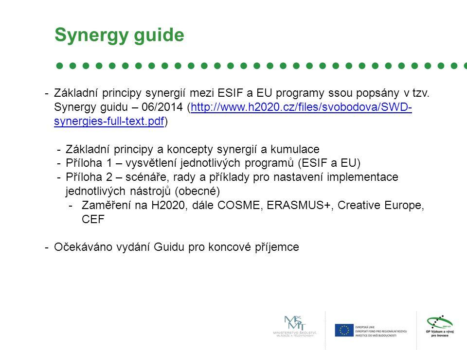 Synergy guide -Základní principy synergií mezi ESIF a EU programy ssou popsány v tzv.