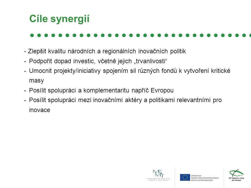 """Cíle synergií - Zlepšit kvalitu národních a regionálních inovačních politik -Podpořit dopad investic, včetně jejich """"trvanlivosti -Umocnit projekty/iniciativy spojením sil různých fondů k vytvoření kritické masy -Posílit spolupráci a komplementaritu napříč Evropou -Posílit spolupráci mezi inovačními aktéry a politikami relevantními pro inovace"""