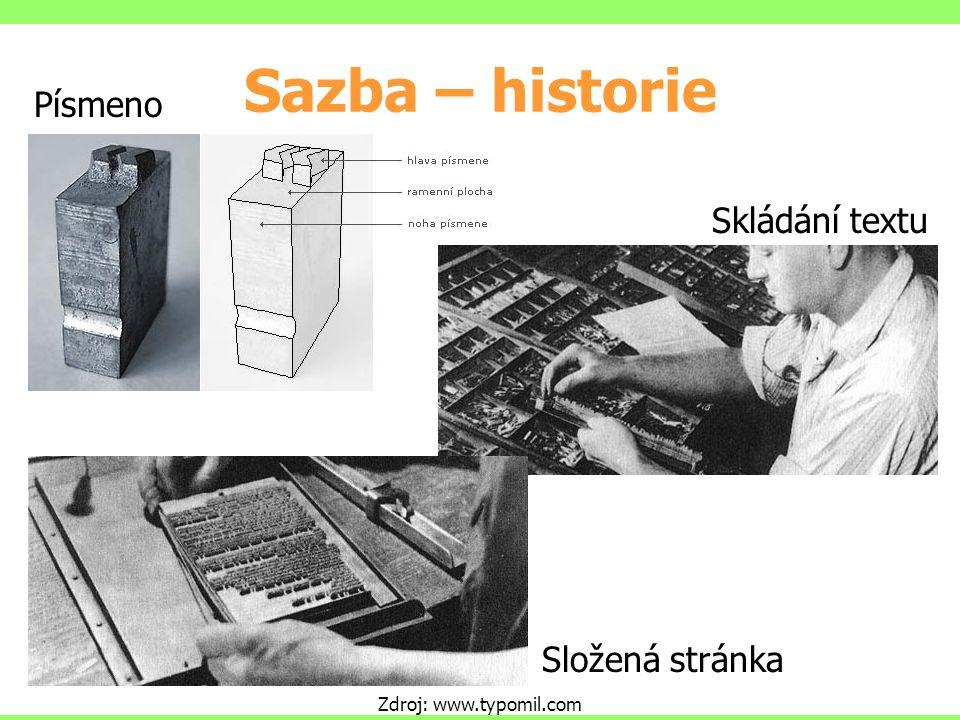 Sazba – historie Zdroj: www.typomil.com Skládání textu Složená stránka Písmeno
