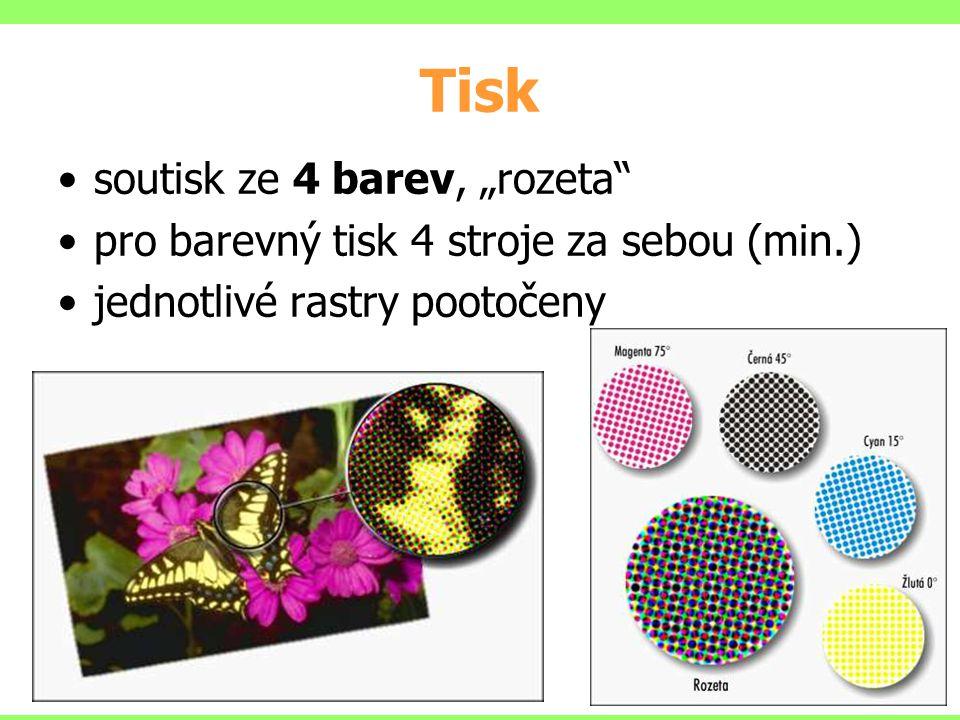"soutisk ze 4 barev, ""rozeta"" pro barevný tisk 4 stroje za sebou (min.) jednotlivé rastry pootočeny Tisk"