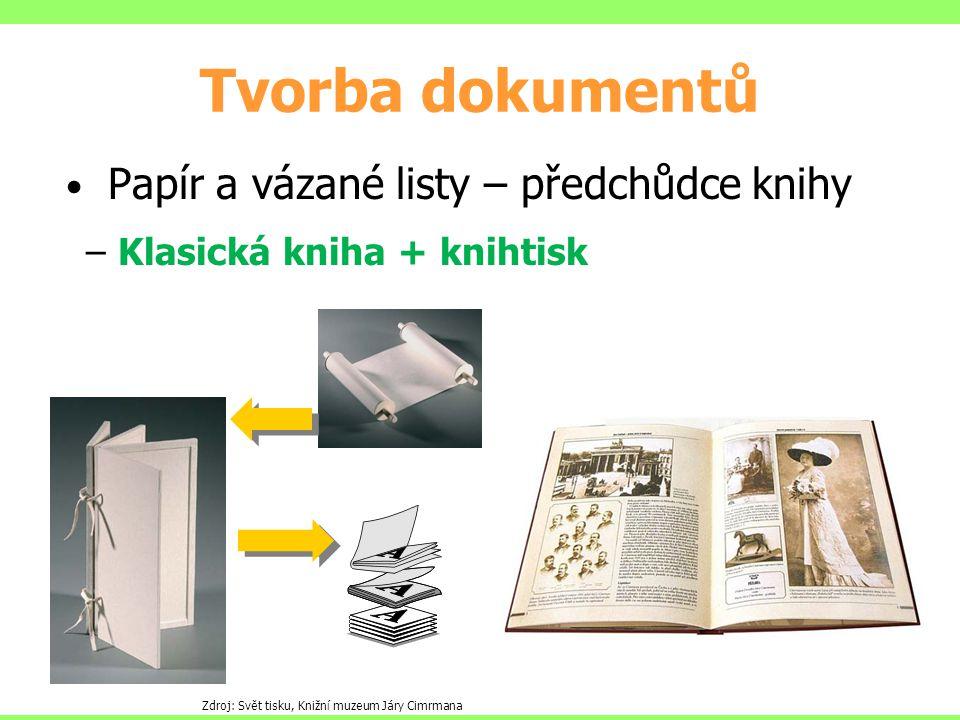 Tvorba dokumentů Papír a vázané listy – předchůdce knihy – Klasická kniha + knihtisk Zdroj: Svět tisku, Knižní muzeum Járy Cimrmana