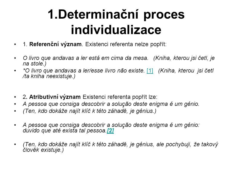 1.Determinační proces individualizace 1.Referenční význam.