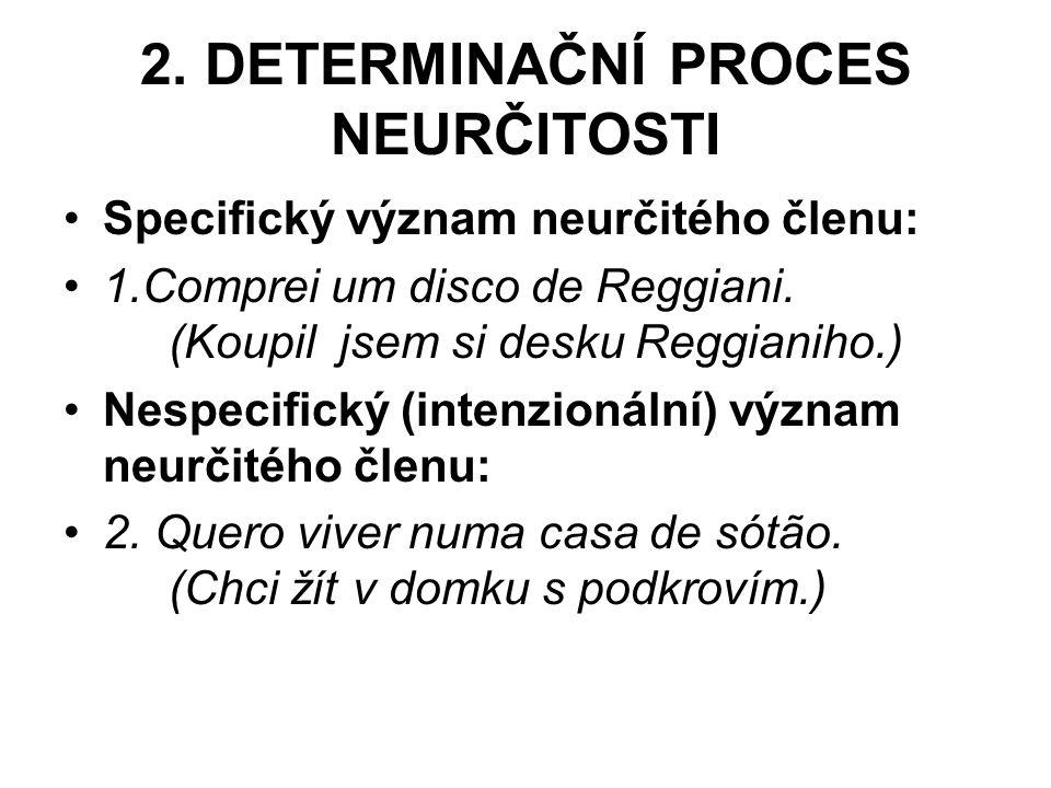 2. DETERMINAČNÍ PROCES NEURČITOSTI Specifický význam neurčitého členu: 1.Comprei um disco de Reggiani. (Koupil jsem si desku Reggianiho.) Nespecifický