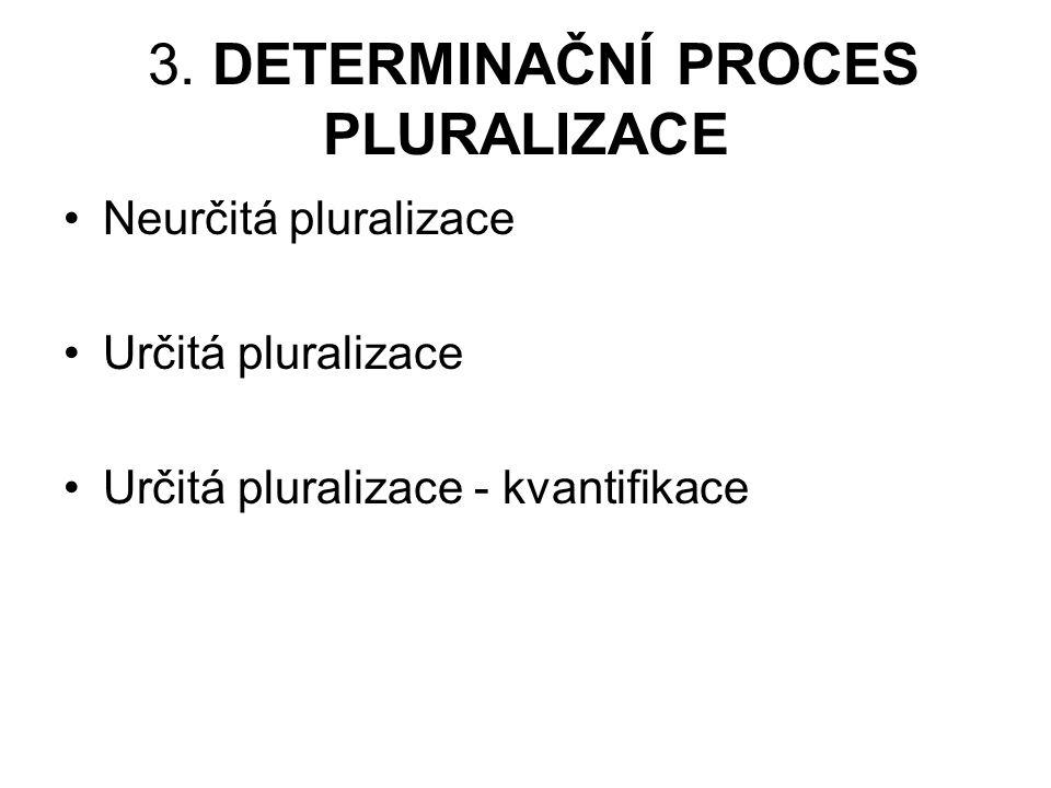 3. DETERMINAČNÍ PROCES PLURALIZACE Neurčitá pluralizace Určitá pluralizace Určitá pluralizace - kvantifikace