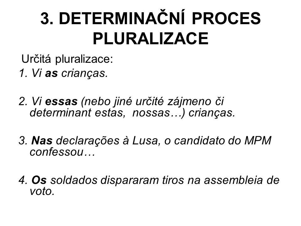 3.DETERMINAČNÍ PROCES PLURALIZACE Určitá pluralizace: 1.