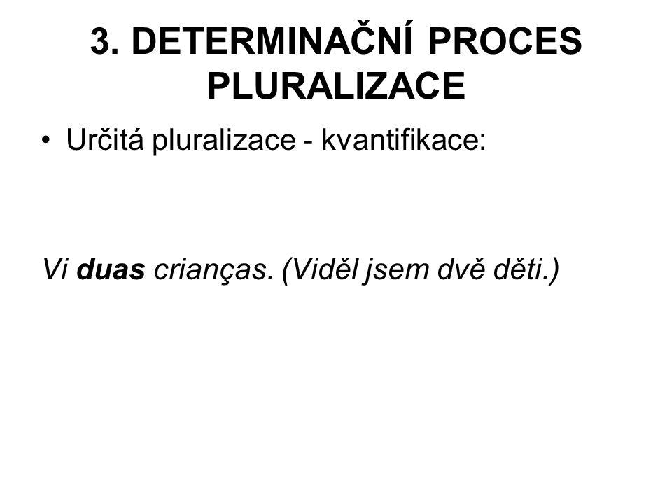 3.DETERMINAČNÍ PROCES PLURALIZACE Určitá pluralizace - kvantifikace: Vi duas crianças.