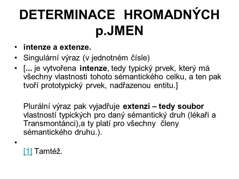 DETERMINACE HROMADNÝCH p.JMEN intenze a extenze.Singulární výraz (v jednotném čísle) [...