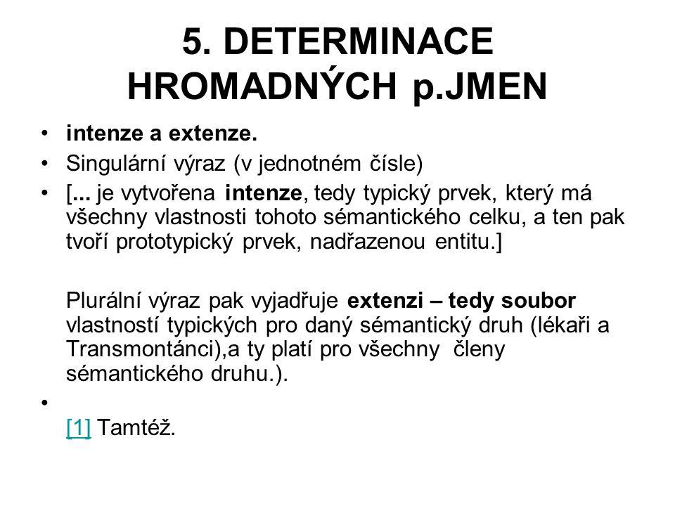5.DETERMINACE HROMADNÝCH p.JMEN intenze a extenze.