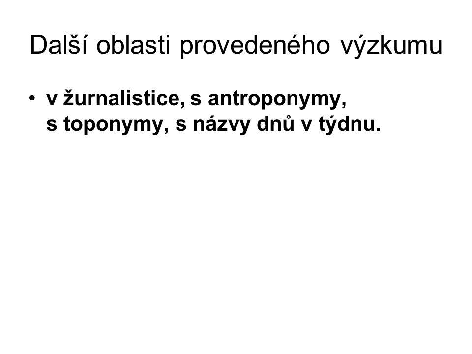 Další oblasti provedeného výzkumu v žurnalistice, s antroponymy, s toponymy, s názvy dnů v týdnu.
