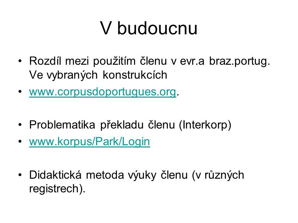 V budoucnu Rozdíl mezi použitím členu v evr.a braz.portug.