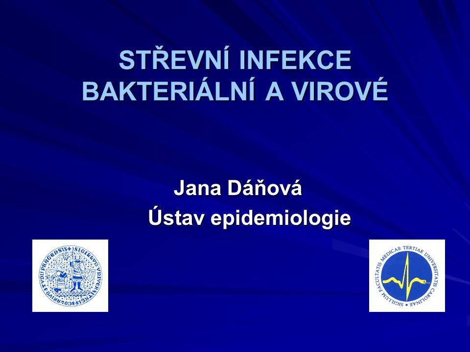 NOROVIROVÉ INFEKCE Původce: Norovirus (RNA virus) Klinické příznaky: nevolnost, zvracení, průjem, výskyt v epidemiích výskyt v epidemiích Cesta přenosu: přímo - fekalo-orálně nepřímo – vzduchem, vodou, potravinou nepřímo – vzduchem, vodou, potravinou Inkubační doba: 24 – 48 hodin Rezervoár: člověk je jediným rezervoárem