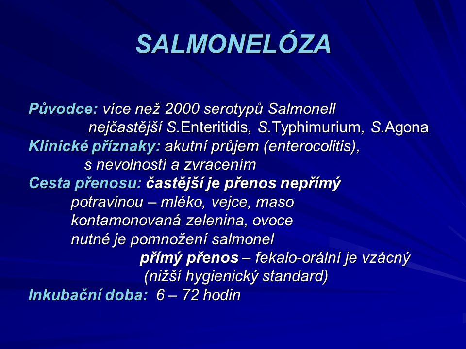 SALMONELÓZA Původce: více než 2000 serotypů Salmonell nejčastější S.Enteritidis, S.Typhimurium, S.Agona nejčastější S.Enteritidis, S.Typhimurium, S.Ag
