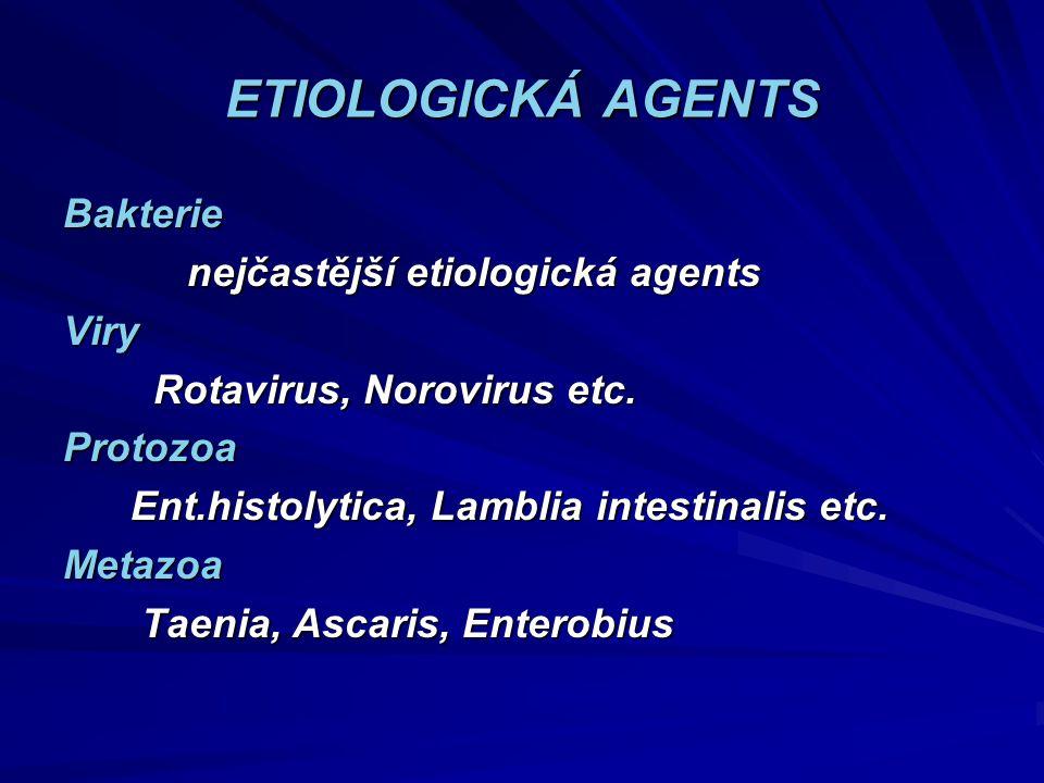 ETIOLOGICKÁ AGENTS Bakterie nejčastější etiologická agents nejčastější etiologická agentsViry Rotavirus, Norovirus etc. Rotavirus, Norovirus etc.Proto