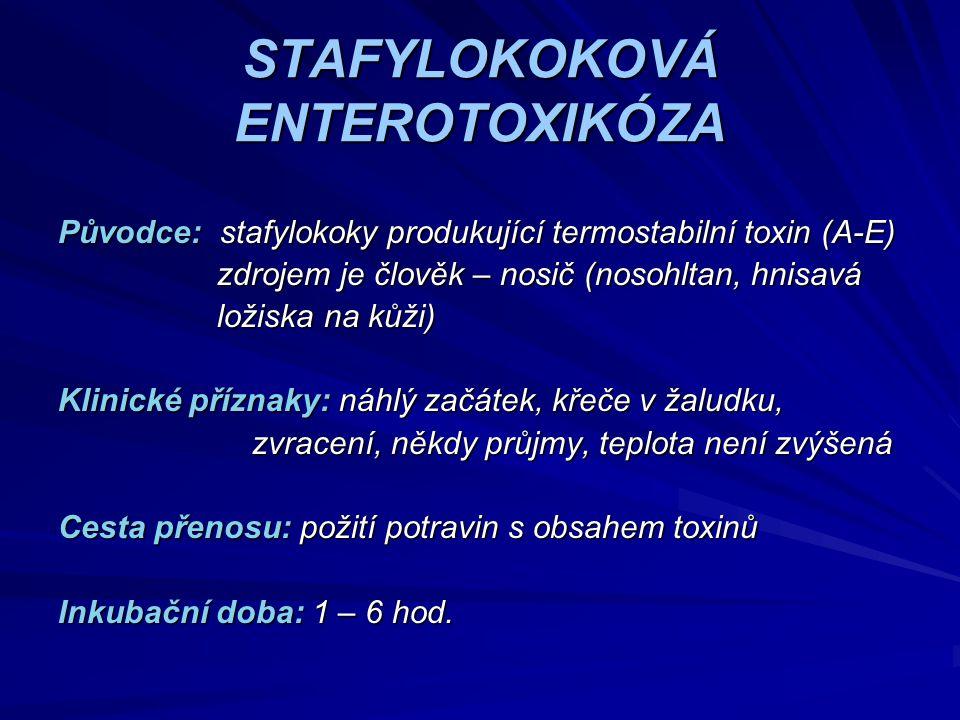 STAFYLOKOKOVÁ ENTEROTOXIKÓZA Původce: stafylokoky produkující termostabilní toxin (A-E) zdrojem je člověk – nosič (nosohltan, hnisavá zdrojem je člově