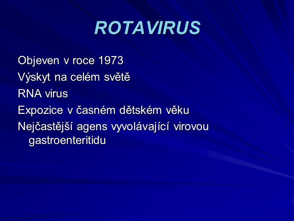 ROTAVIRUS Objeven v roce 1973 Výskyt na celém světě RNA virus Expozice v časném dětském věku Nejčastější agens vyvolávající virovou gastroenteritidu