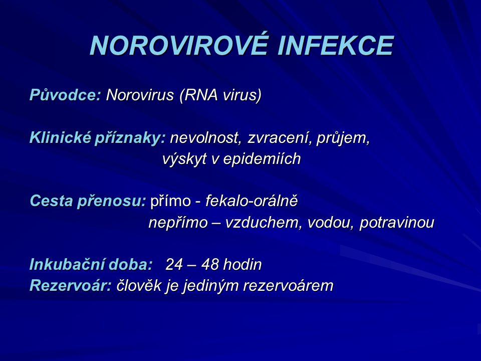 NOROVIROVÉ INFEKCE Původce: Norovirus (RNA virus) Klinické příznaky: nevolnost, zvracení, průjem, výskyt v epidemiích výskyt v epidemiích Cesta přenos