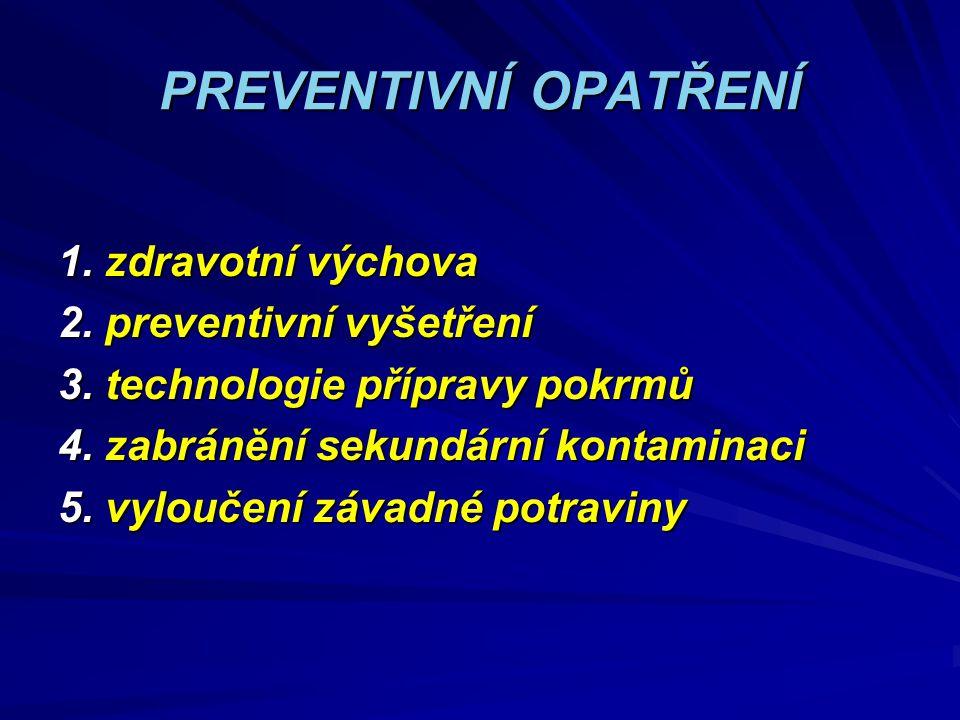 PREVENTIVNÍ OPATŘENÍ 1. zdravotní výchova 2. preventivní vyšetření 3. technologie přípravy pokrmů 4. zabránění sekundární kontaminaci 5. vyloučení záv