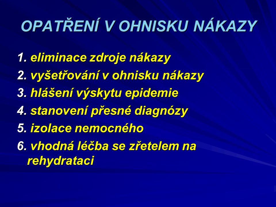 OPATŘENÍ V OHNISKU NÁKAZY 1. eliminace zdroje nákazy 2. vyšetřování v ohnisku nákazy 3. hlášení výskytu epidemie 4. stanovení přesné diagnózy 5. izola