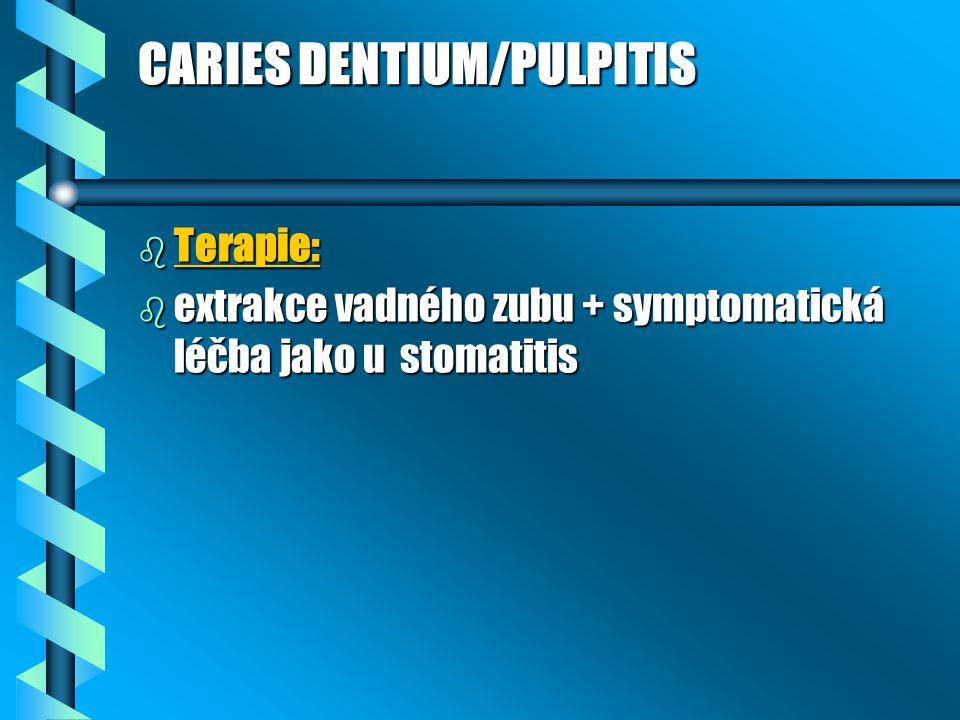 CARIES DENTIUM/PULPITIS b Terapie: b extrakce vadného zubu + symptomatická léčba jako u stomatitis