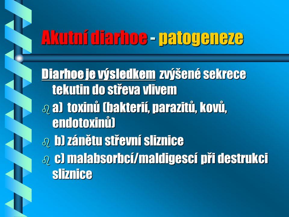 Akutní diarhoe - patogeneze Diarhoe je výsledkem zvýšené sekrece tekutin do střeva vlivem b a) toxinů (bakterií, parazitů, kovů, endotoxinů) b b) záně