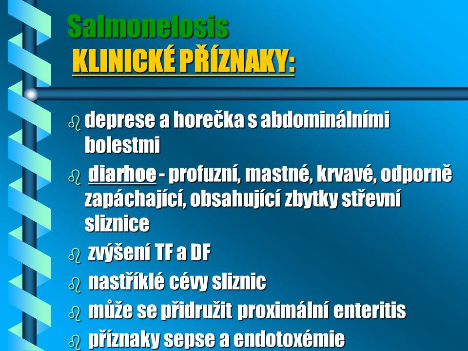 Salmonelosis KLINICKÉ PŘÍZNAKY: b deprese a horečka s abdominálními bolestmi b diarhoe - profuzní, mastné, krvavé, odporně zapáchající, obsahující zby