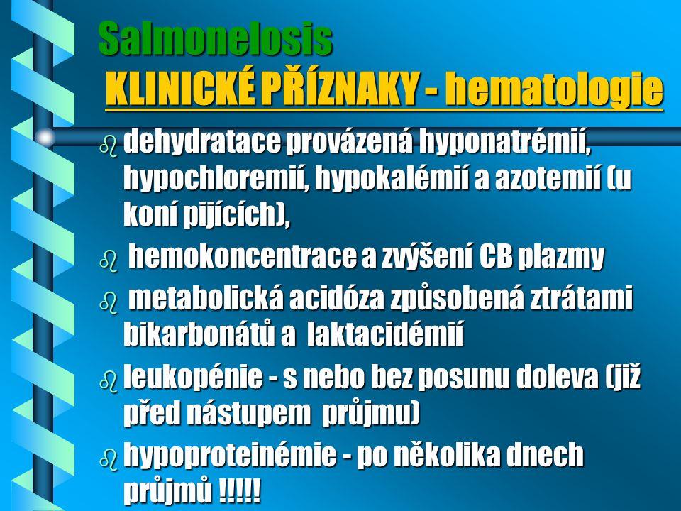 Salmonelosis KLINICKÉ PŘÍZNAKY - hematologie b dehydratace provázená hyponatrémií, hypochloremií, hypokalémií a azotemií (u koní pijících), b hemokonc