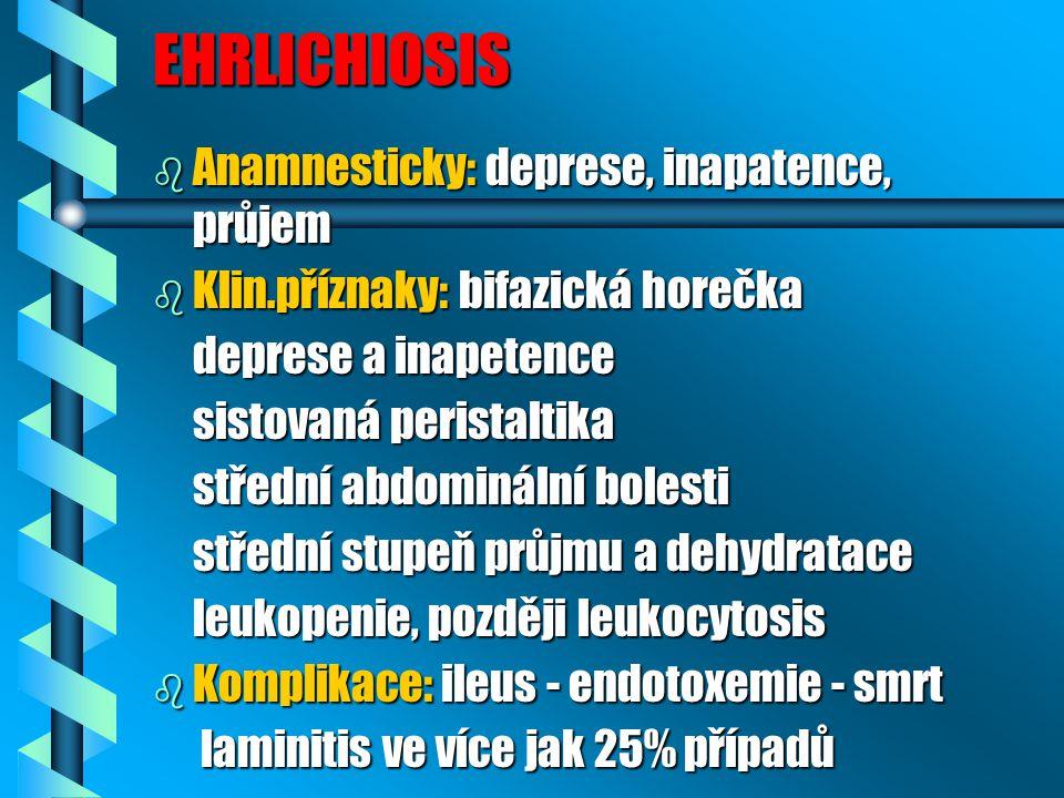 EHRLICHIOSIS b Anamnesticky: deprese, inapatence, průjem b Klin.příznaky: bifazická horečka deprese a inapetence deprese a inapetence sistovaná perist
