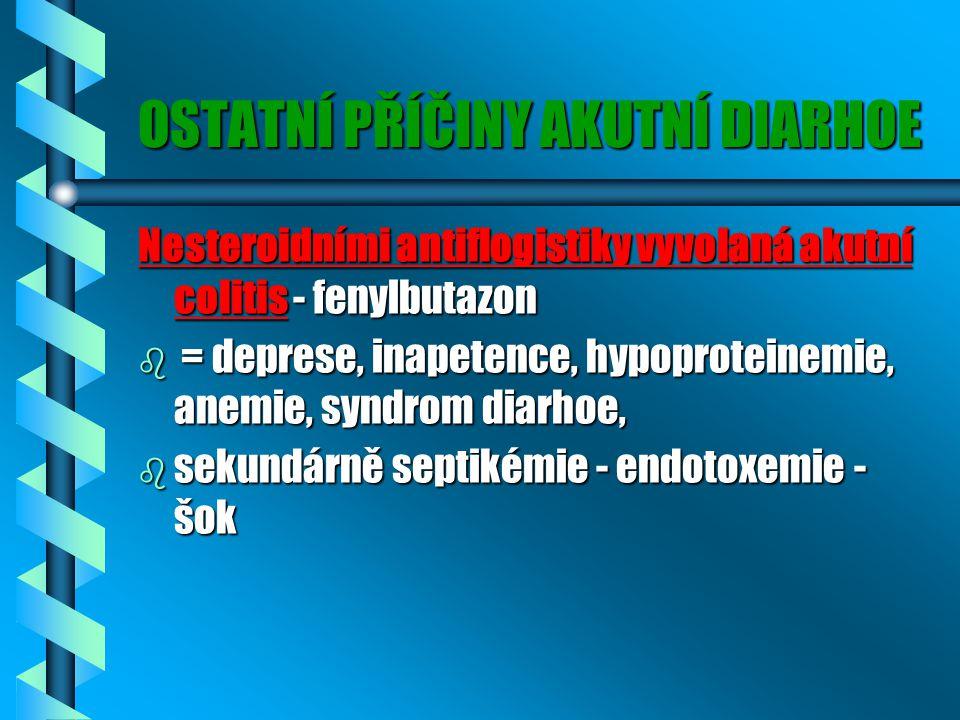 OSTATNÍ PŘÍČINY AKUTNÍ DIARHOE Nesteroidními antiflogistiky vyvolaná akutní colitis - fenylbutazon b = deprese, inapetence, hypoproteinemie, anemie, syndrom diarhoe, b sekundárně septikémie - endotoxemie - šok