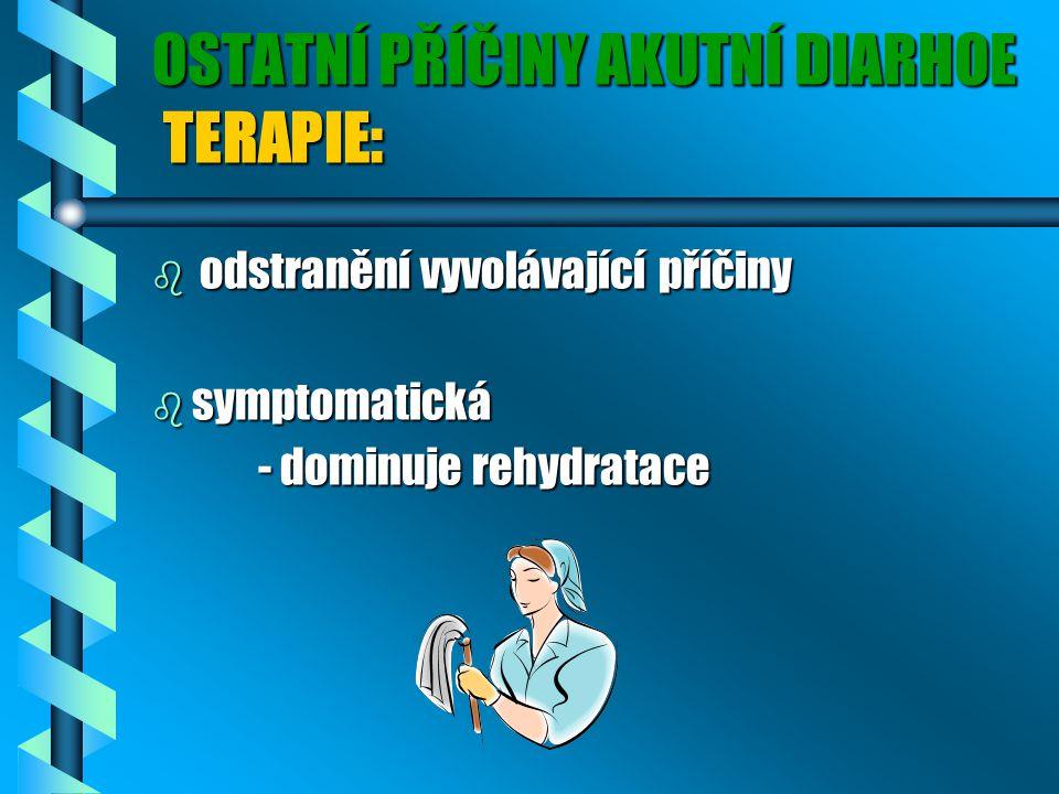 OSTATNÍ PŘÍČINY AKUTNÍ DIARHOE TERAPIE: b odstranění vyvolávající příčiny b symptomatická - dominuje rehydratace