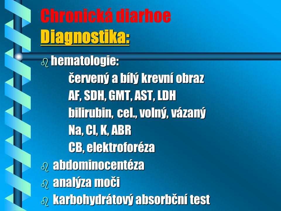 Diagnostika: Chronická diarhoe Diagnostika: b hematologie: červený a bílý krevní obraz AF, SDH, GMT, AST, LDH AF, SDH, GMT, AST, LDH bilirubin, cel., volný, vázaný bilirubin, cel., volný, vázaný Na, Cl, K, ABR Na, Cl, K, ABR CB, elektroforéza CB, elektroforéza b abdominocentéza b analýza moči b karbohydrátový absorbční test