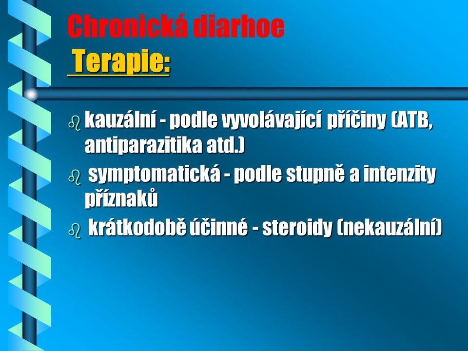 Terapie: Chronická diarhoe Terapie: b kauzální - podle vyvolávající příčiny (ATB, antiparazitika atd.) b symptomatická - podle stupně a intenzity příz