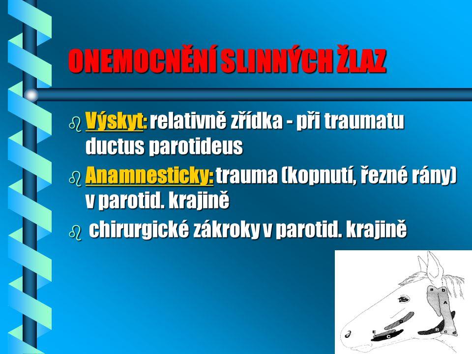 ONEMOCNĚNÍ SLINNÝCH ŽLAZ b Výskyt: relativně zřídka - při traumatu ductus parotideus b Anamnesticky: trauma (kopnutí, řezné rány) v parotid. krajině b