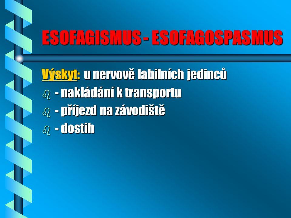 ESOFAGISMUS - ESOFAGOSPASMUS Výskyt: u nervově labilních jedinců b - nakládání k transportu b - příjezd na závodiště b - dostih