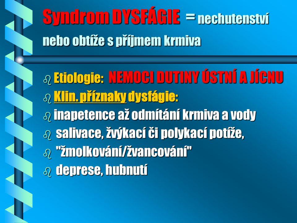 Syndrom DYSFÁGIE = nechutenství nebo obtíže s příjmem krmiva b Etiologie: NEMOCI DUTINY ÚSTNÍ A JÍCNU b Klin. příznaky dysfágie: b inapetence až odmít