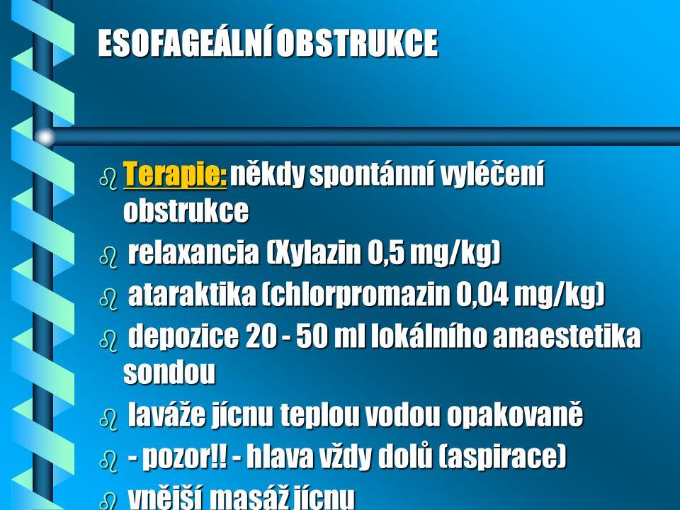 ESOFAGEÁLNÍ OBSTRUKCE b Terapie: někdy spontánní vyléčení obstrukce b relaxancia (Xylazin 0,5 mg/kg) b ataraktika (chlorpromazin 0,04 mg/kg) b depozic