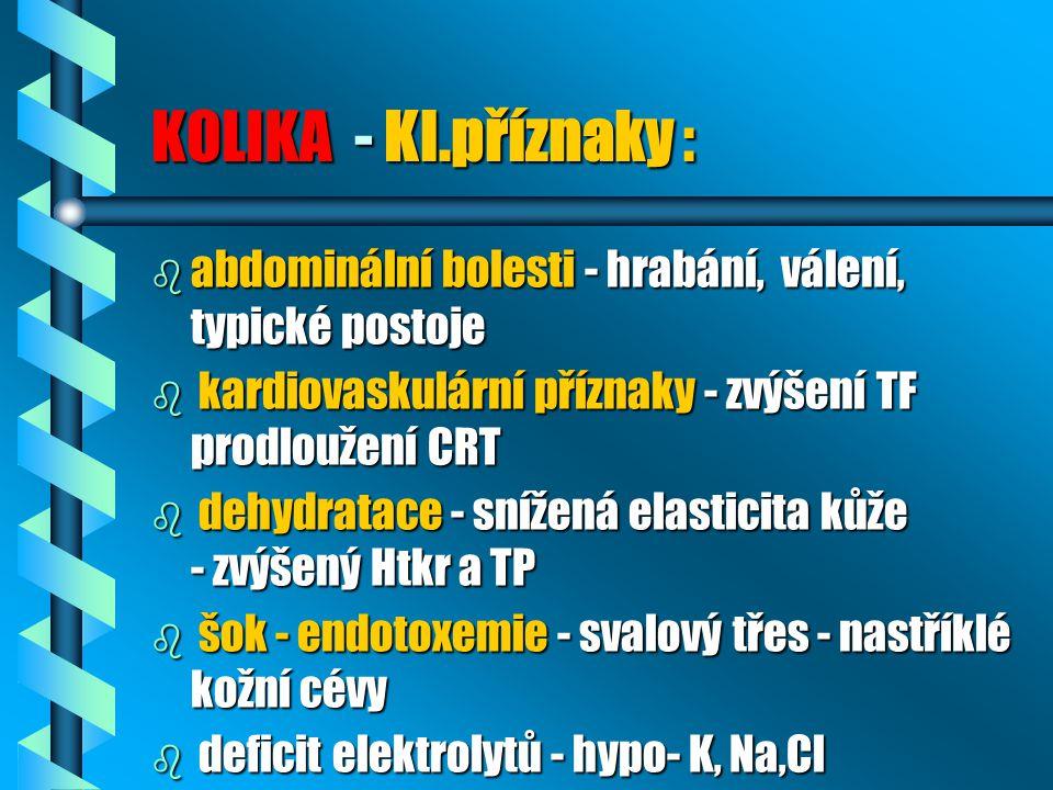 KOLIKA - Kl.příznaky : b abdominální bolesti - hrabání, válení, typické postoje b kardiovaskulární příznaky - zvýšení TF prodloužení CRT b dehydratace