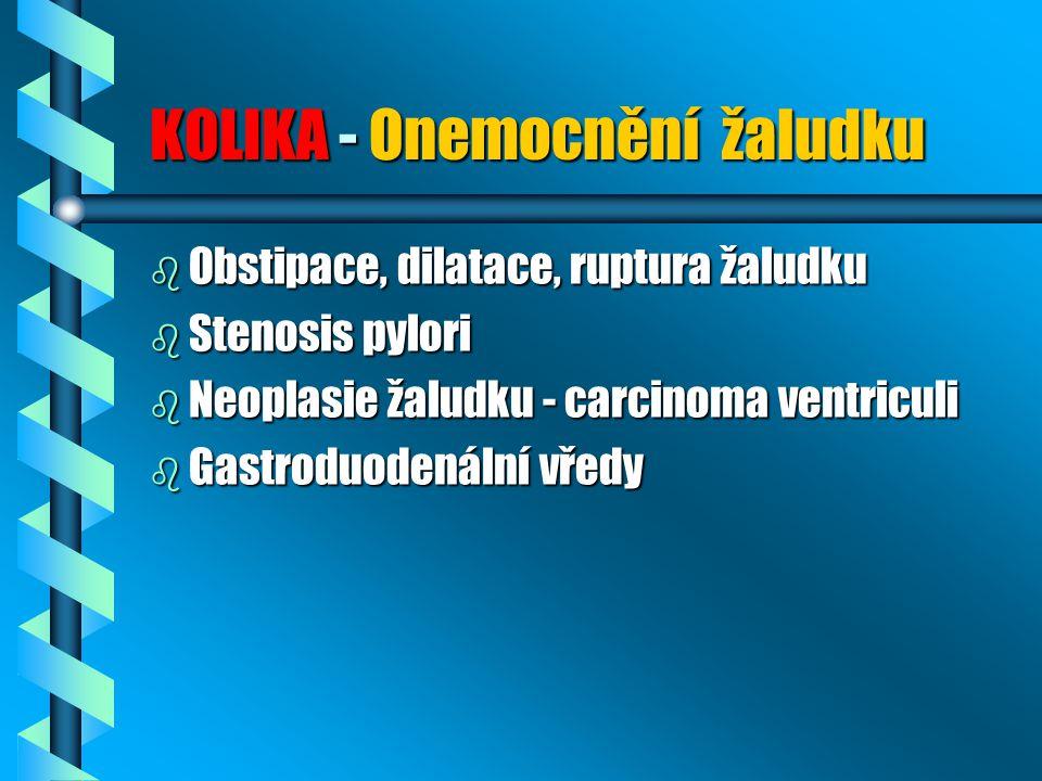 KOLIKA - Onemocnění žaludku b Obstipace, dilatace, ruptura žaludku b Stenosis pylori b Neoplasie žaludku - carcinoma ventriculi b Gastroduodenální vředy