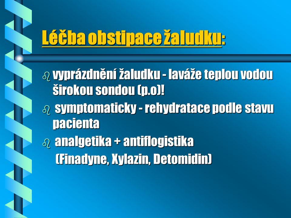 Léčba obstipace žaludku: b vyprázdnění žaludku - laváže teplou vodou širokou sondou (p.o)! b symptomaticky - rehydratace podle stavu pacienta b analge